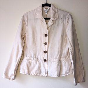 Talbots Off-White Irish Linen Blend Jacket Blazer